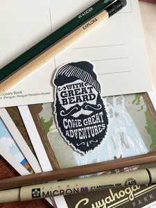 With Great Beard Come Great Adventures Sticker