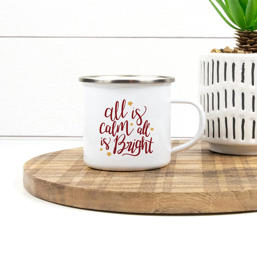 All is Calm All is Bright - Christmas Enamel Mug