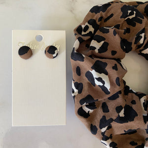 Leopard Scrunchie and Earring Set