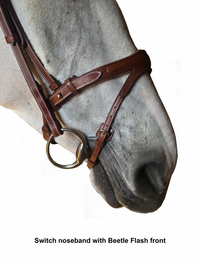 "Silver Crown ""Switch"" noseband with ""Beetle"" flash cavesson"