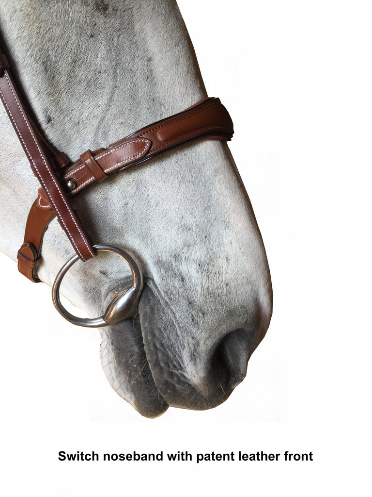 "Silver Crown ""Switch"" noseband with patent leather cavesson"