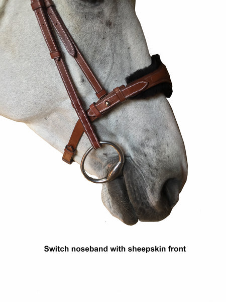 "Silver Crown ""Switch"" noseband with sheepskin-lined cavesson"