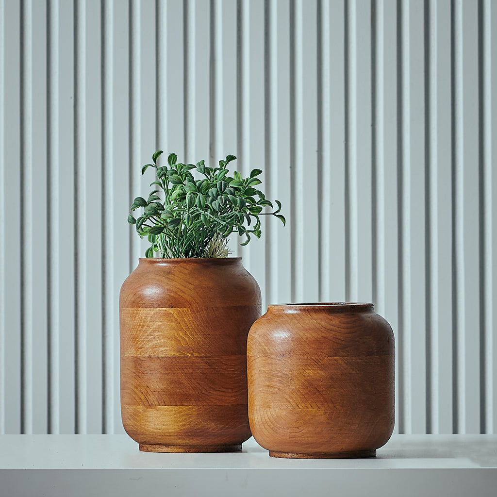 """Laurel"" Set of 2 - Wooden Vases"