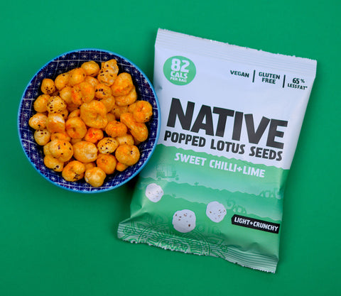 Native popped lotus seeds in sweet chilli and lime