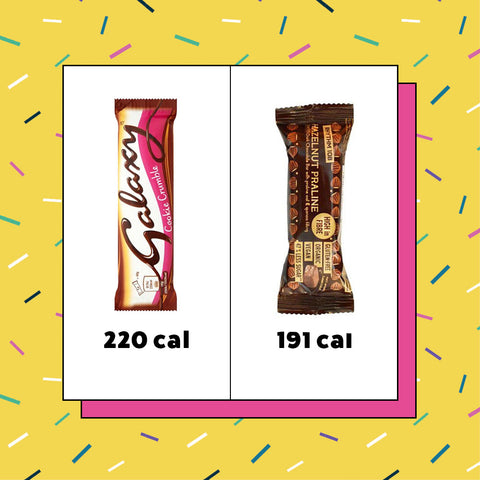 How many calories in Galaxy Cookie Crumble (220 cals) vs Rhythm 108 bars (191 cals)