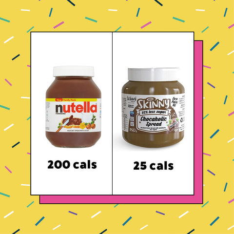 How many calories in nutella (200 cals) vs skinny food co hazelnut spread (25 cals)