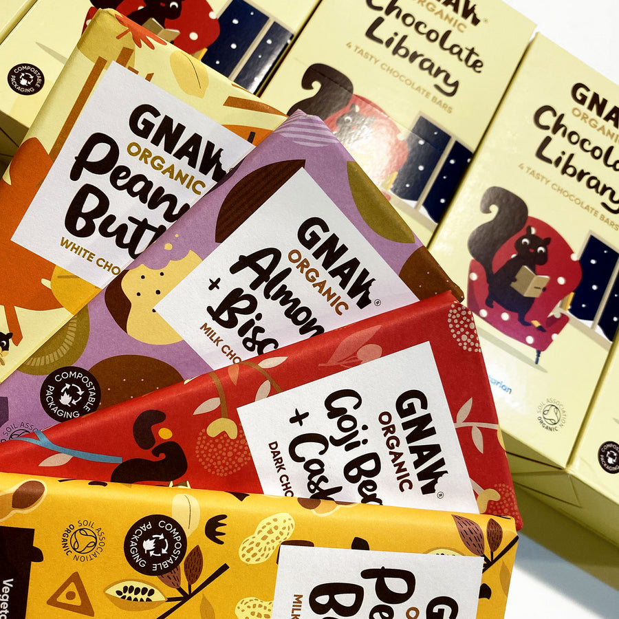 Gnaw Organic Chocolate Library - 4 x 100g