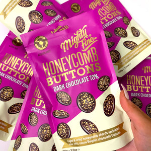 Mighty Fine Honeycomb Buttons - Dark Chocolate - 100g