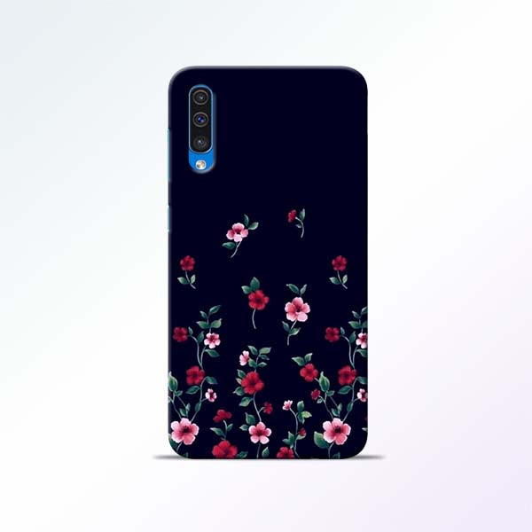 Black Flower Samsung Galaxy A50 Mobile Cases
