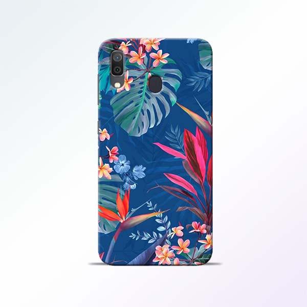 Blue Floral Samsung Galaxy A30 Mobile Cases