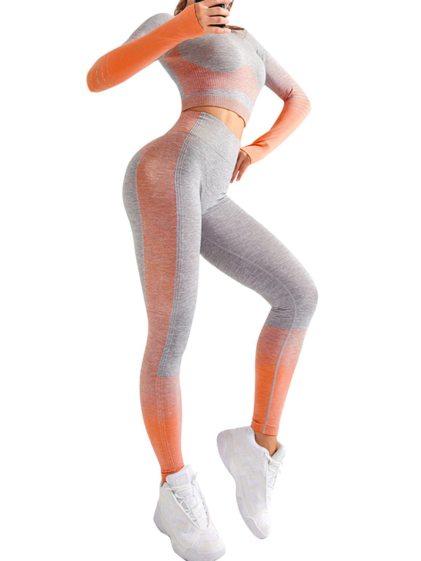 ASNIA Orange - Ensemble Leggings dégradé à manches longues,LEGGINGS,LES ENSEMBLES LEGGINGS,slimdy