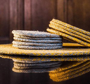 Jute Coasters in Indian Yellow/Natural, Tied Set of 4