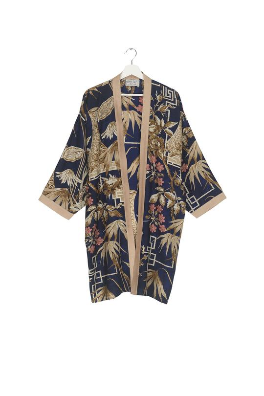 One Hundred Stars Bamboo Indigo Collar Kimono