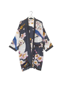 One Hundred Stars Blossom and Birds Charcoal Collar Kimono