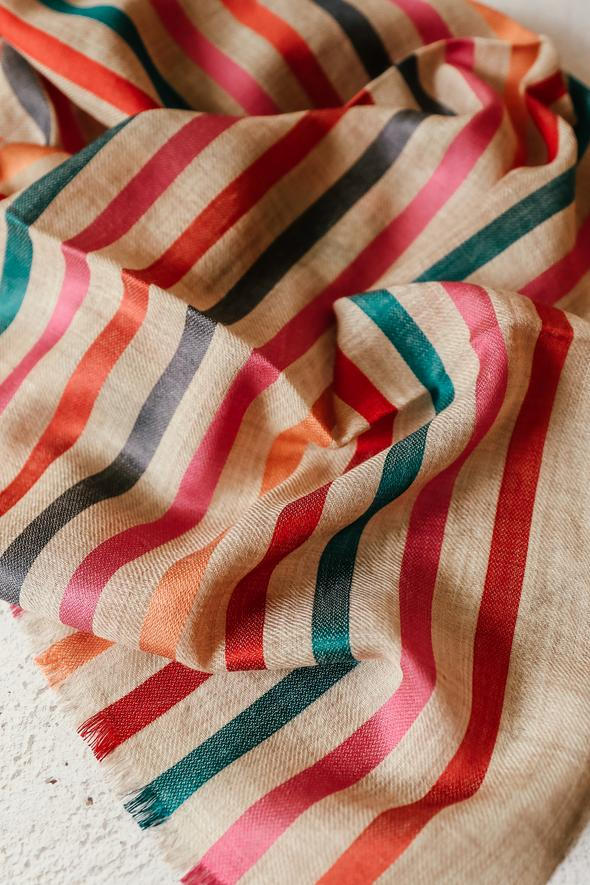 Candy Stripe Merino Wool & Silk Scarf