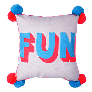 FUN Embroidered Cushion on Linen Turquoise/Coral