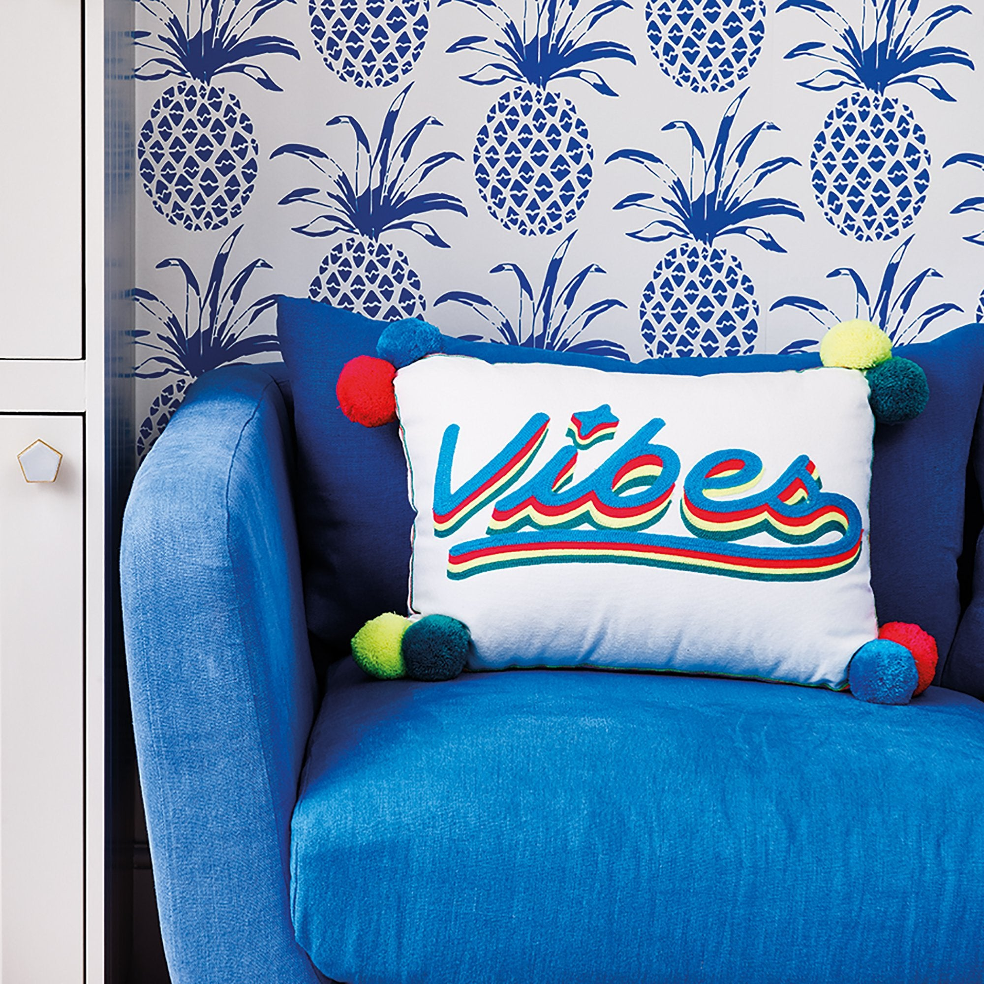 Vibes Cursive Cushion Turq / Multicoloured