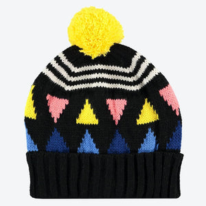Miss Pom Pom Triangle Beanie Black
