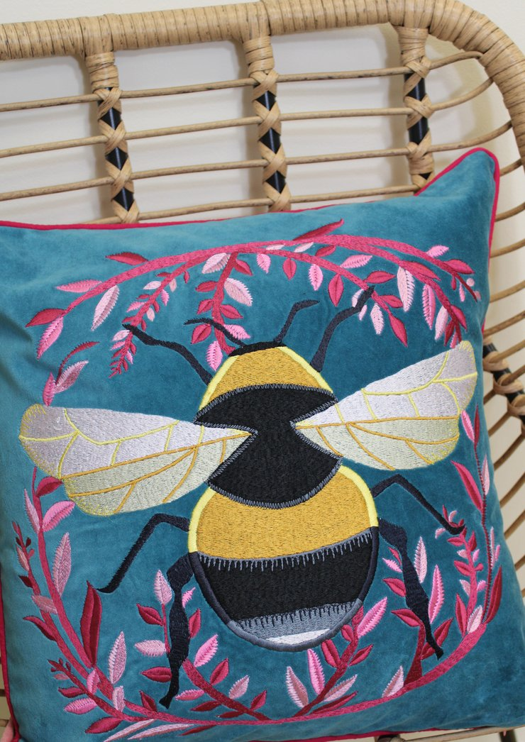 Velvet Blue Bumble Bee Cushion