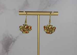 Handcrafted Coral Enamel Cluster Earrings