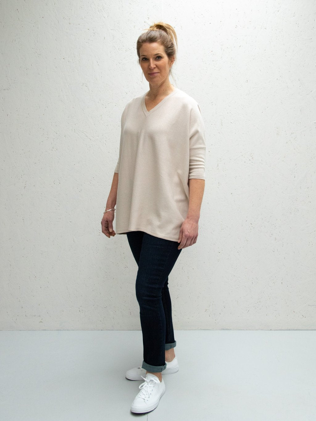 Chalk UK Clara V-Neck Jumper Light Stone