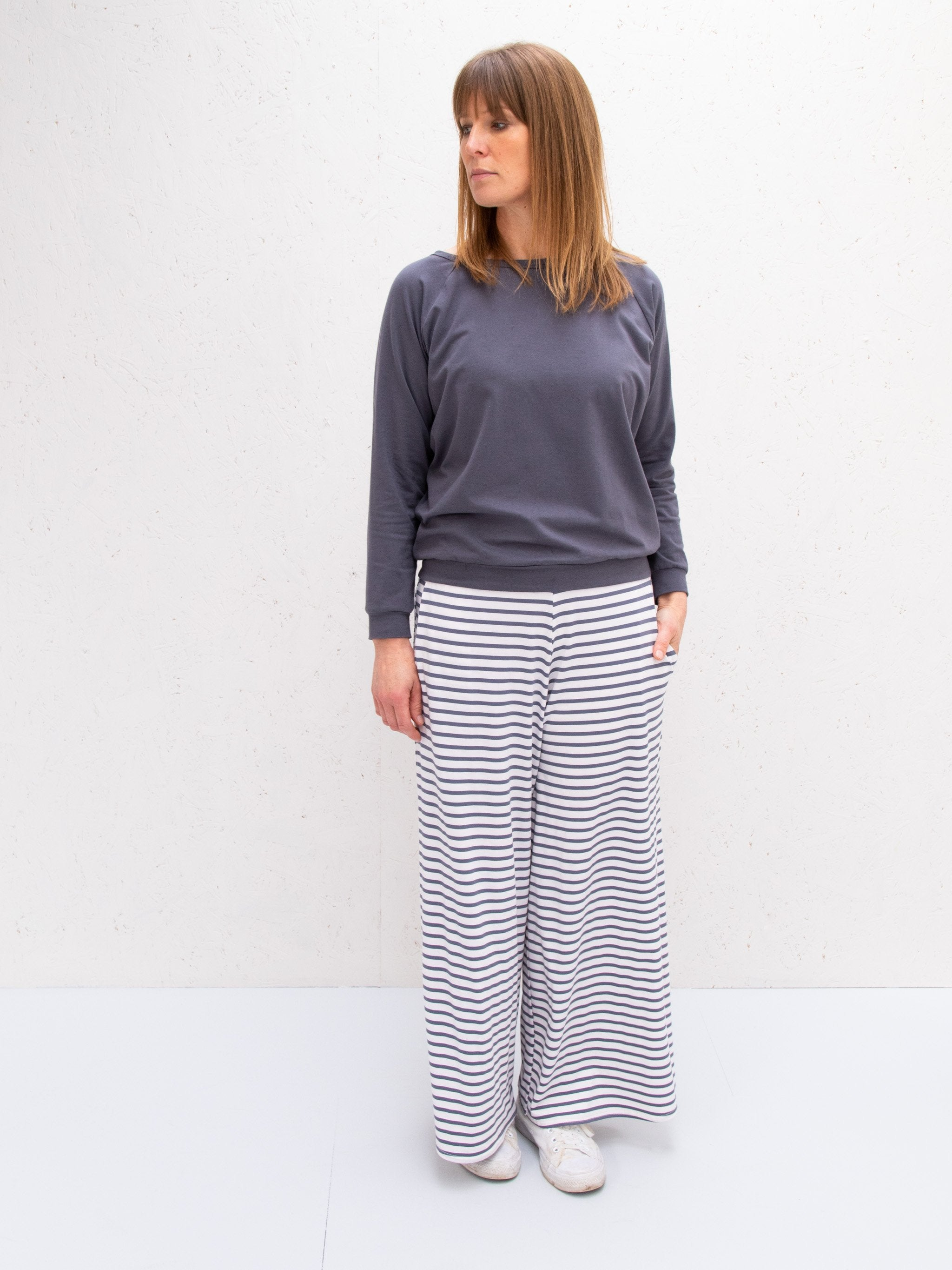 Chalk UK Luna Pants Stripe Charcoal