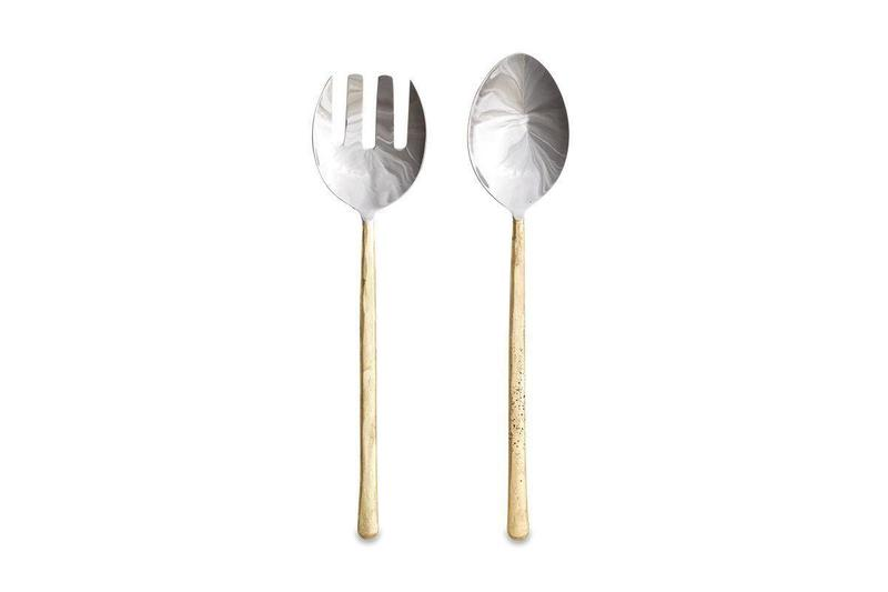 Sirkali Brushed Gold Salad Servers