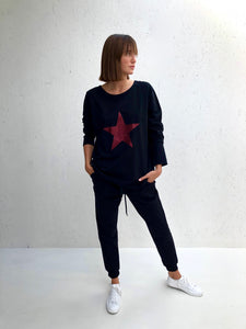 Chalk UK | Robyn Black Top Red Glitter Star