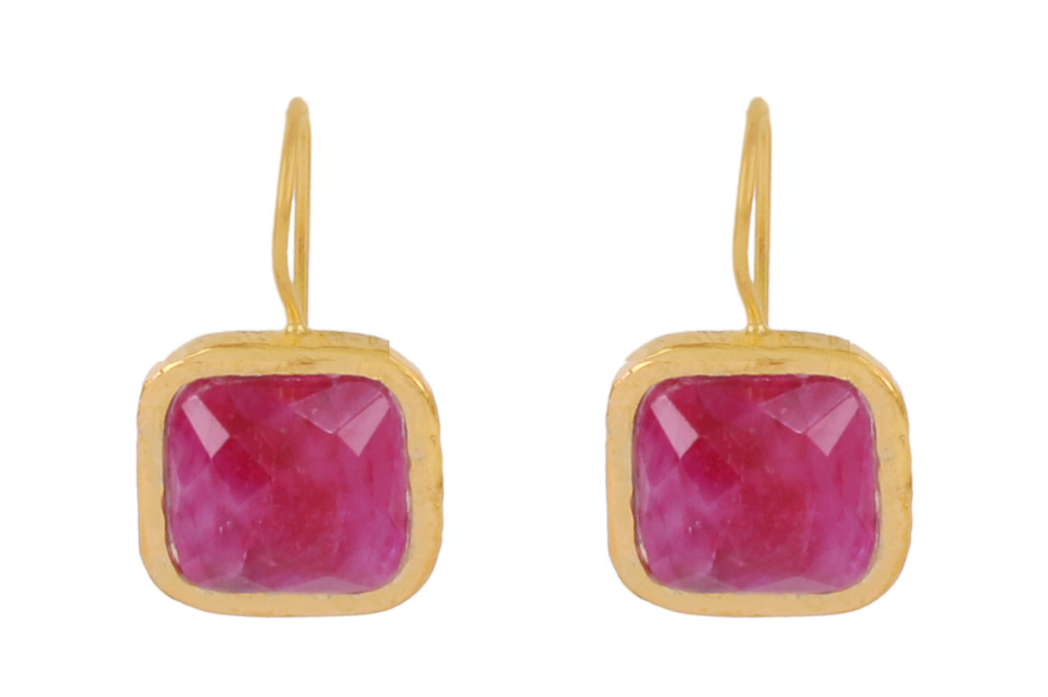 Square Ruby Sillimanite Earrings