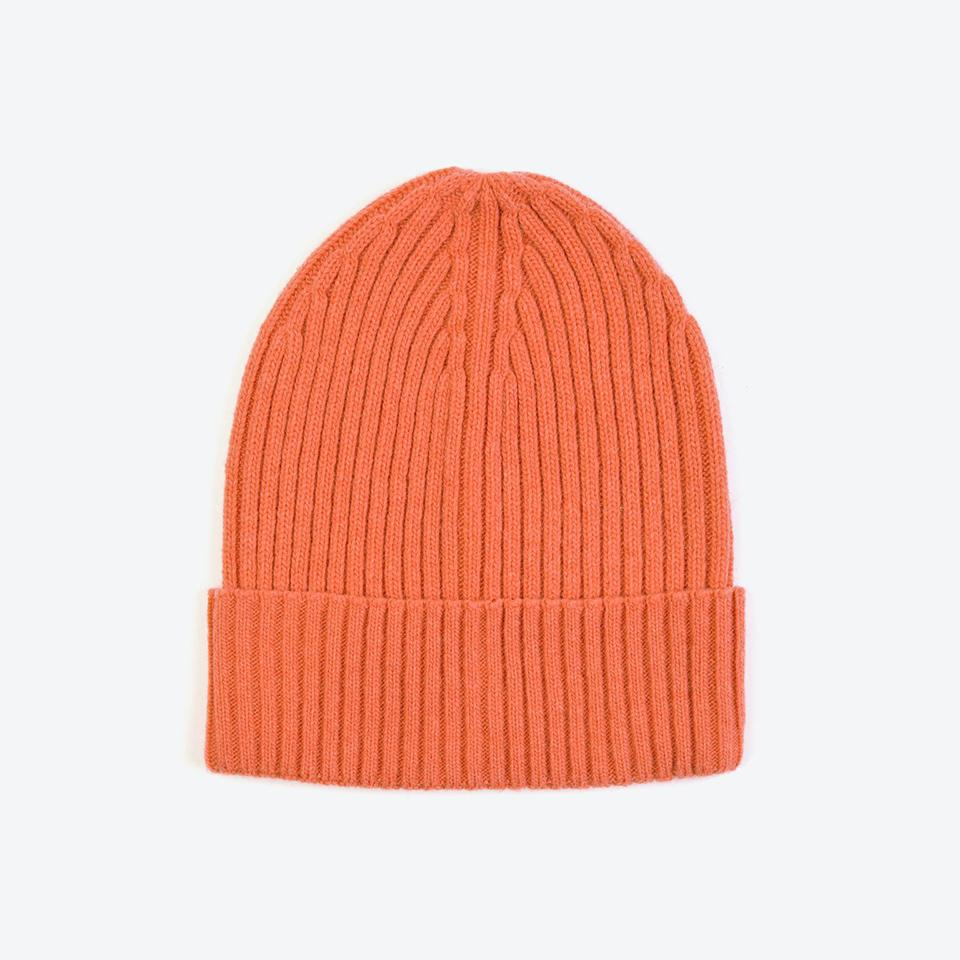 Miss Pom Pom Orange Wool Ribbed Beanie