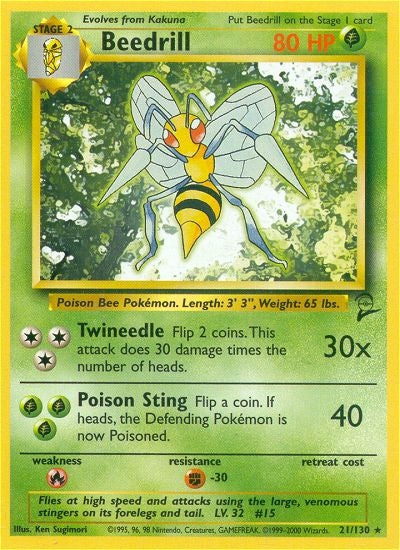 Pokemon Base Set 2 - Beedrill - 021/130*U - Used Rare card
