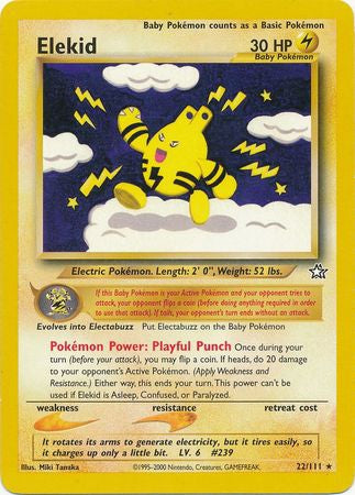 Pokemon Neo Genesis - Elekid - 022/111*U - Used Rare card