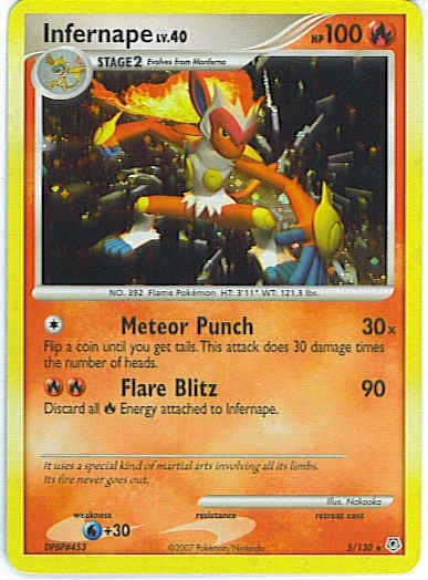 Pokemon Diamond and Pearl - Infernape - 005/130*U - Used Rare Reverse Holo card
