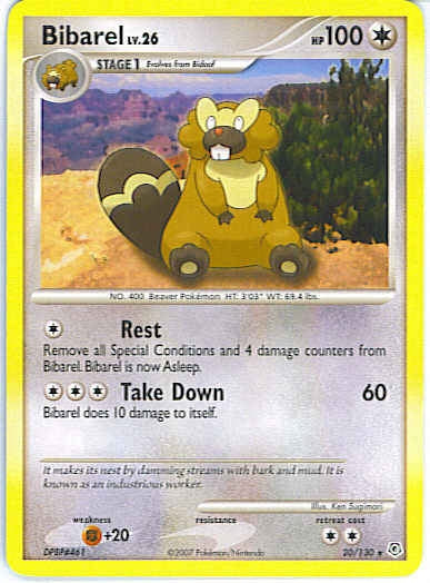 Pokemon Diamond and Pearl - Bibarel - 020/130*U - Used Rare card