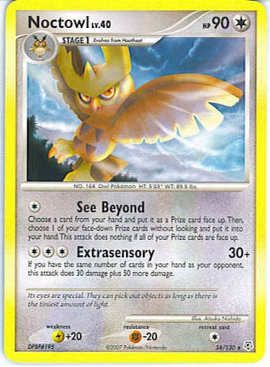 Pokemon Diamond and Pearl - Noctowl - 034/130*U - Used Rare card