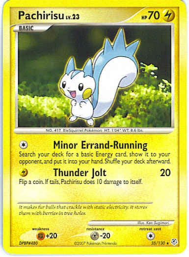 Pokemon Diamond and Pearl - Pachirisu - 035/130*U - Used Rare card