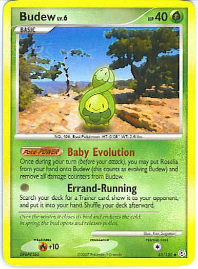 Pokemon Diamond and Pearl - Budew - 043/130*U - Used Uncommon card