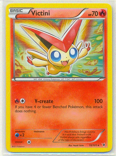 Pokemon Noble Victories - Victini - 015/101*U - Used Holo Rare card