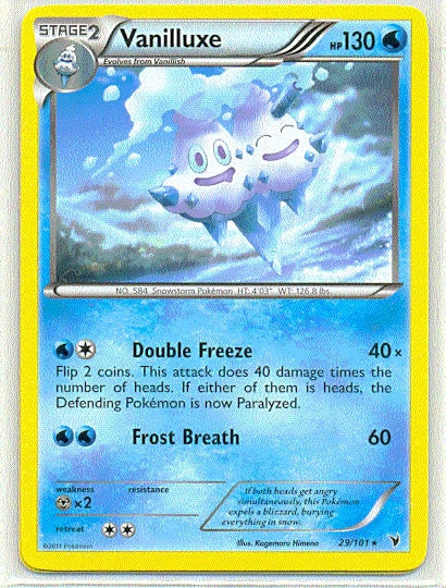 Pokemon Noble Victories - Vanilluxe - 029/101*U - Used Rare card