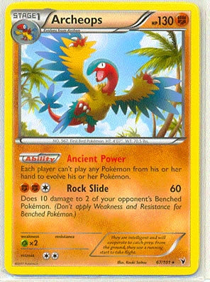 Pokemon Noble Victories - Archeops - 067/101*U - Used Rare card