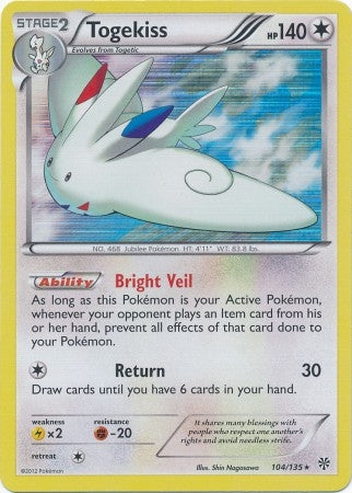 Pokemon Plasma Storm - Togekiss - 104/135*U - Used Holo Rare card
