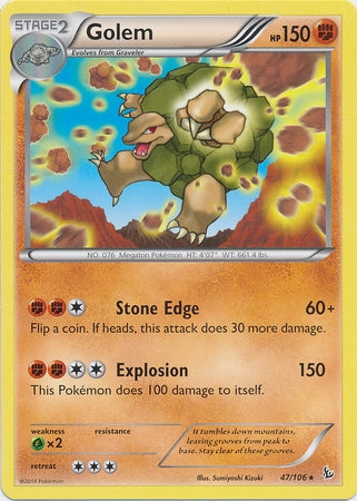 Pokemon XY Flashfire - Golem - 047/106*U - Used Rare card