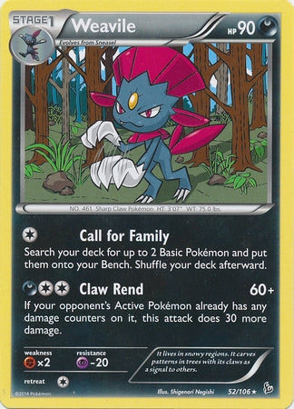 Pokemon XY Flashfire - Weavile - 052/106*U - Used Rare Reverse Holo card