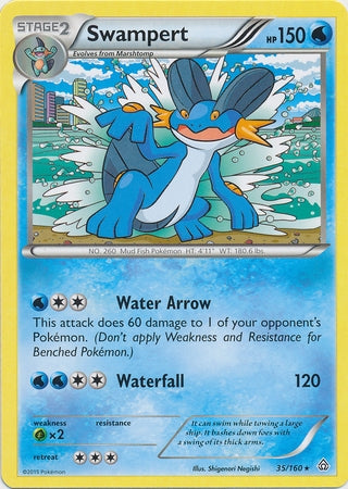 Pokemon XY Primal Clash - Swampert - 035/160*U - Used Rare card