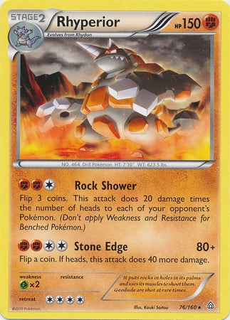 Pokemon XY Primal Clash - Rhyperior - 076/160*U - Used Rare card