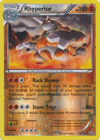 Pokemon XY Primal Clash - Rhyperior - 076/160*U - Used Reverse Holo card