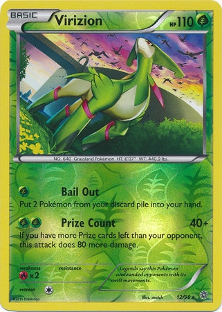 Pokemon XY Ancient Origins - Virizion - 012/98*U - Used Reverse Holo card