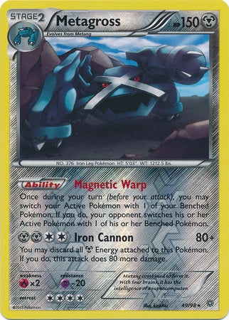 Pokemon XY Ancient Origins - Metagross - 049/98*U - Used Reverse Holo card