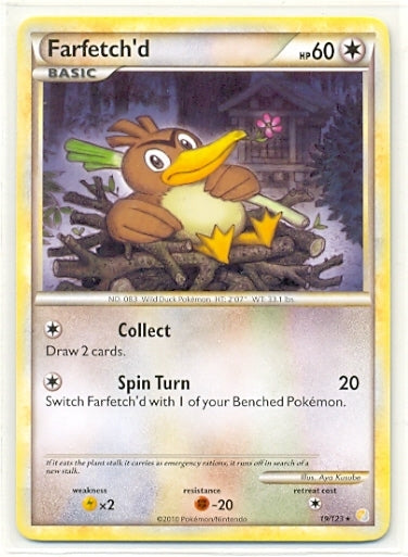 Pokemon Heart Gold Soul Silver - Farfetch'd - HGSS  19/123 - Used Rare card