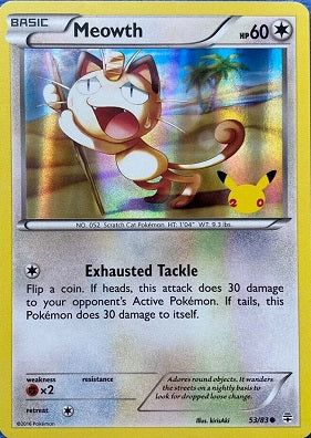 Pokemon Generations - Meowth GAME Foil promo - 53/83 - Used Reverse Holo card